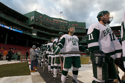 Jan. 13, 2012, Boston, MA - The Babson College Beavers take the ice for warm ups during the team's Frozen Fenway game against the Norwich University Cadets on Friday.  By Ryan Hutton