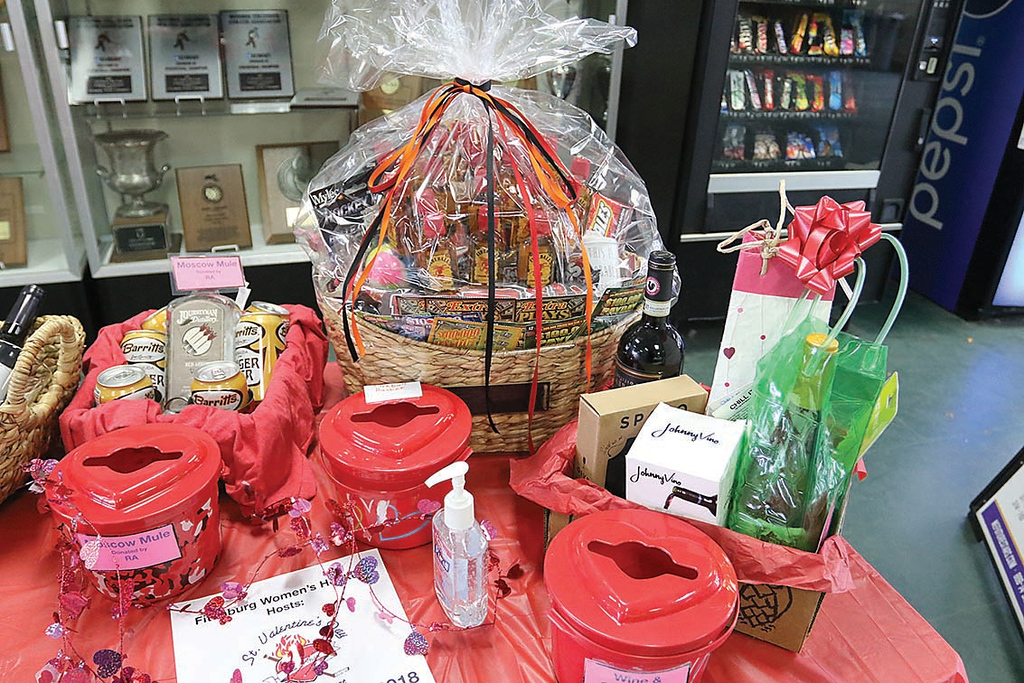 . Some of the raffle prises at the Fitchburg State University\'s Wallace Civic Center during the St. Valentine\'s Day Have a Heart Hockey Tournament. All proceeds will go to Luk, Inc. and the Shelly L\'Ecuyer Scholarship Fund. SENTINEL & ENTERPRISE/JOHN LOVE