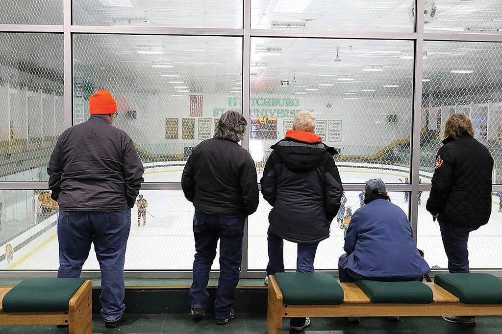 . Spectators watch one of the Women\'s hockey games on Saturday morning over looking the rink at the Fitchburg State University\'s Wallace Civic Center during the St. Valentine\'s Day Have a Heart Hockey Tournament. All proceeds will go to Luk, Inc. and the Shelly L\'Ecuyer Scholarship Fund. SENTINEL & ENTERPRISE/JOHN LOVE