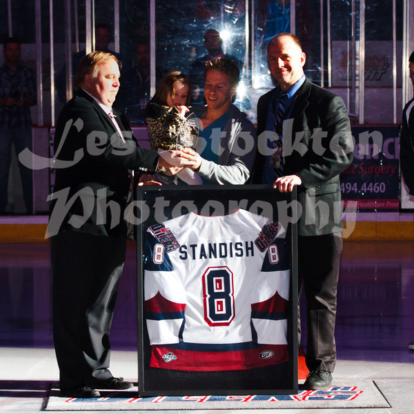 They had a presentation before the game, honoring Marty Standish for his hockey career.