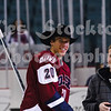 Drew Fisher (20) gets a cowboy hat in celebration of a recent hat trick.