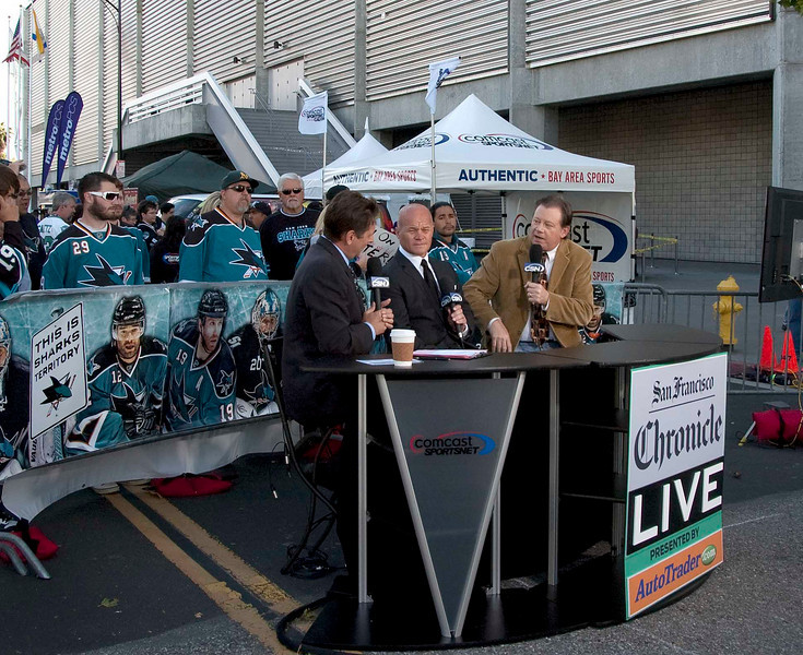 Local journalists interview Drew Remenda before Game 2 of the 2010 Western Conference finals.