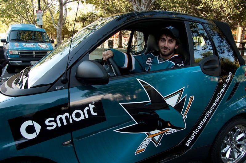 Smart person inside Smart Car.