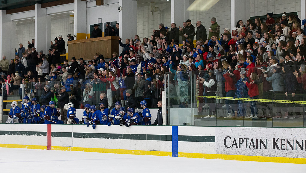 . Lunenburg fans react after their team\'s second-period goal. SENTINEL & ENTERPRISE / GARY FOURNIER
