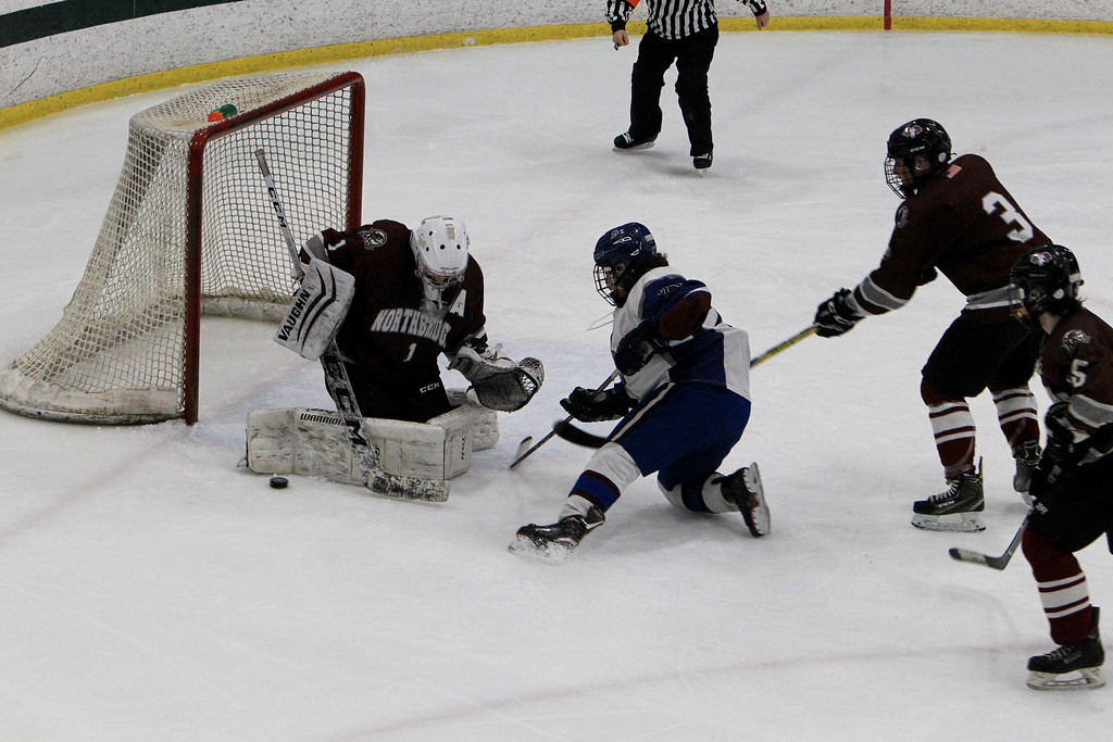 . Lunenburg\'s Nathan Handy gets denied on the doorstep by the Northbridge goalie. SENTINEL & ENTERPRISE / VINCENT APOLLONIO