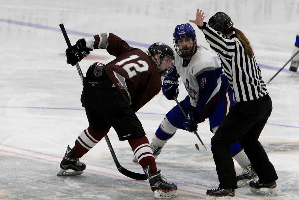 . Lunenburg\'s Connor Viviano and Northbridge\'s Andrew McCarthy prepare for a faceoff. SENTINEL & ENTERPRISE / VINCENT APOLLONIO