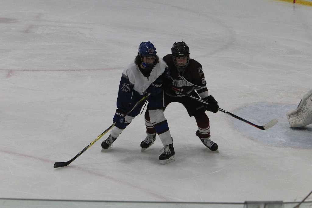 . Lunenburg\'s Joey Robinson battles for position in front of the Northbridge net. SENTINEL & ENTERPRISE / VINCENT APOLLONIO