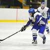 Lunenburg/Ayer-Shirley's Kevin Cowdrey skates up ice during Monday's game against Hopedale/Millis.<br /> SENTINEL & ENTERPRISE / BRETT CRAWFORD