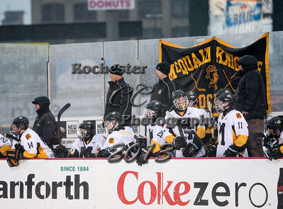 December 21, 2013;  Rochester, NY; USA; McQuaid Jesuit Knights Hockey vs. St. Joes Marauders at Frontier Field  Photo: Christopher Cecere