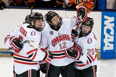 Joel Messner, David Pope and Jake Guentzel  NCAA Midwest Hockey Regional vs. RIT