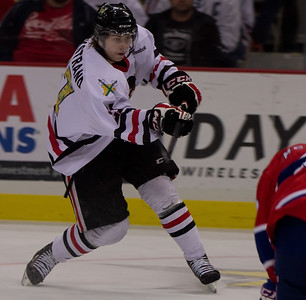 Oliver Bjorkstrand with a shot on goal during the Winterhawks 4-0 victory.