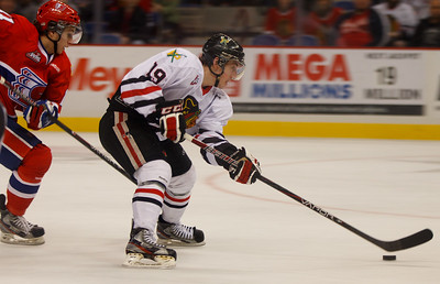 Nicolas Petan on a breakaway during the Winterhawks 4-0 victory over Spokane Saturday night.
