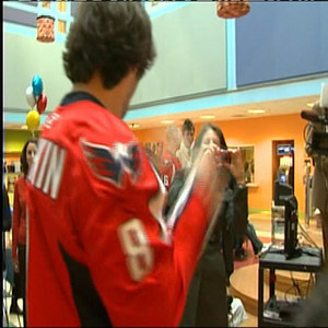 The Caps Visit the Children's National Medical Center. Alex Ovechkin does some Alexander Semin bongo style Wii Boxing.