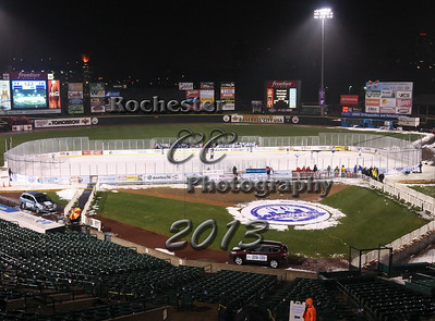 December 21, 2013;  Rochester, NY; USA; Webster Thomas Titans Hockey vs. Webster Schroeder Warriors at Frontier Field  Photo: Christopher Cecere