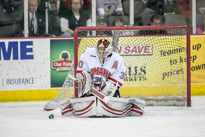UNO goalie  John Faulkner.    UNO's Mavs take on Minnesota State in hockey on Dec. 14, 2012, in Omaha, Neb.,  (Jeff Beiermann/UNO) University of Nebraska at Omaha. Mavericks NCAA