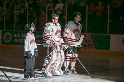 John Faulkner, middle  Brent Gwidt. UNO's Mavs take on Minnesota State in hockey on Dec. 14, 2012, in Omaha, Neb.,  (Jeff Beiermann/UNO) University of Nebraska at Omaha. Mavericks NCAA
