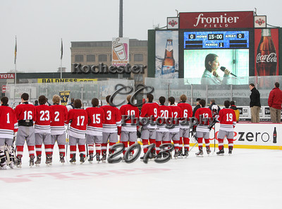 December 21, 2013;  Rochester, NY; USA;  Victor Blue Devils Hockey vs. Canandaigua Braves at Frontier Field  Photo: Christopher Cecere