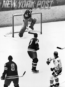 Rangers' Ed Gliacomin blocks shot by Chicago Blackhawks' Bobby Hull. 1966