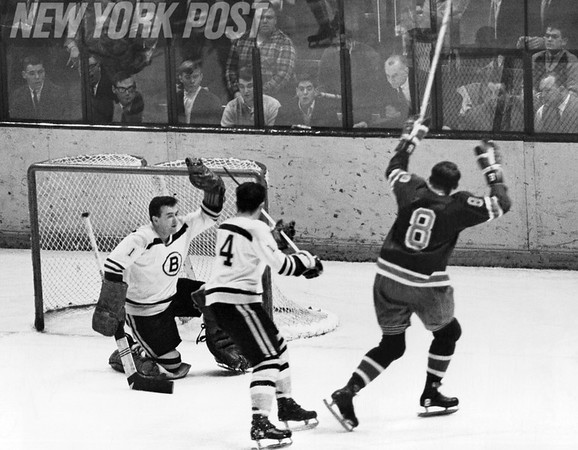 St. Louis Blues' Bob Nevins scores a goal on Boston Bruins. 1966