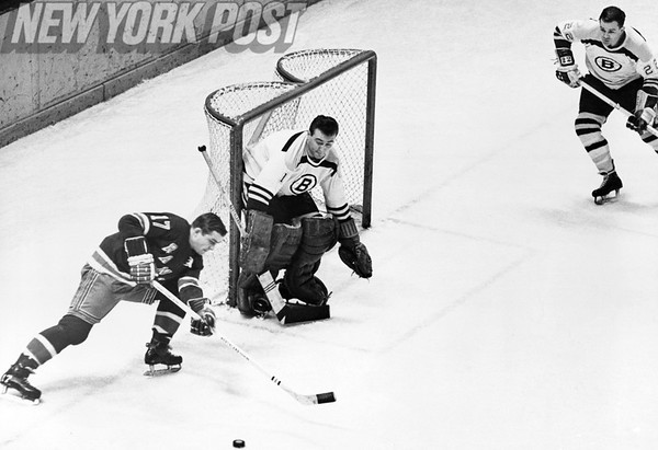 New York Rangers goes for the goal against the Boston Bruins. 1966