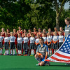 US Field Hockey team sing the US anthem prior to starting a game against the Netherlands on the 10th of June 2016 in Hilversum the Netherlands. The US won the game 3-2.