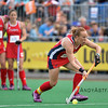 Captain Lauren Crandall prepares to take a penalty during a field hockey game between the US and the Netherlands national teams held on the 10th of June 2016 in Hilversum the Netherlands.  The US won the game 3-2.