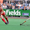Julia Reinprecht from the US during a field hockey penalty shoot out between the US and the Netherlands national teams held on the 10th of June 2016 in Hilversum the Netherlands. The US won the game 3-2.