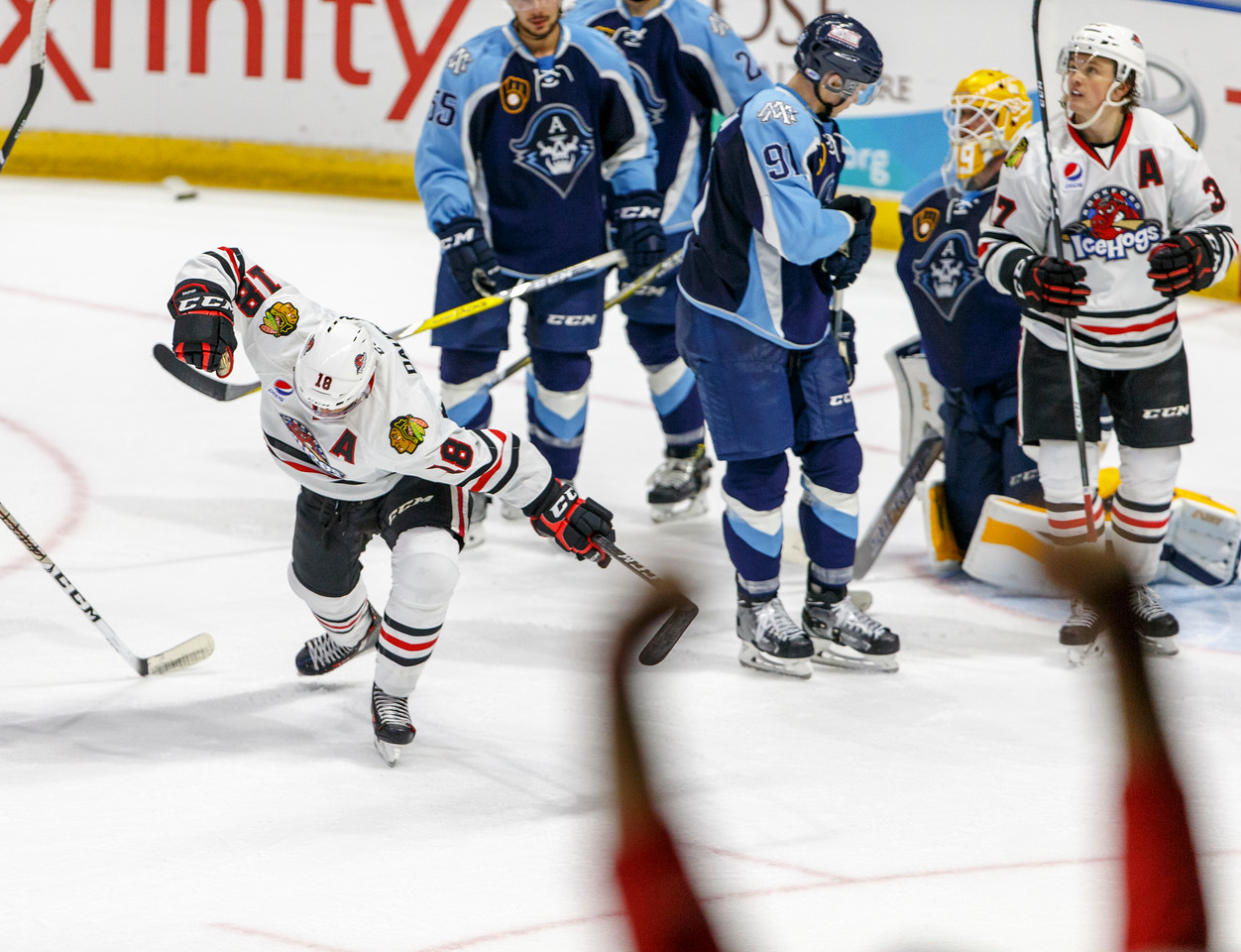 IMAGE: https://photos.smugmug.com/Sports/HockeyPhotos/IceHogs-2017-2018/10-15-17-IceHogs-vs-Admirals/i-58FdN7z/0/8245315c/X2/CC6Q4183_0776-X2.jpg