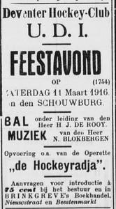 19160308  Advertentie in Deventer Dagblad 8 maart 1916