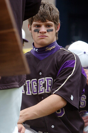 Ryan Silva, Holy Family, deep in thought after the Tigers lost to Faith Christian in the state 3A championship game at Jackson Field in Greeley on Saturday.<br /> May 28, 2011<br /> staff photo/David R. Jennings