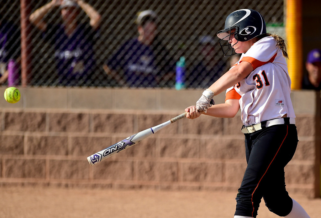 . ERIE, CO - SEPTEMBER 18:Erie High School\'s Kaylee Armstrong (No. 31) gets a hit against Holy Family High School in Erie on Sept. 18, 2018. Erie defeated Holy Family, 11-9. (Photo by Matthew Jonas/Staff Photographer)
