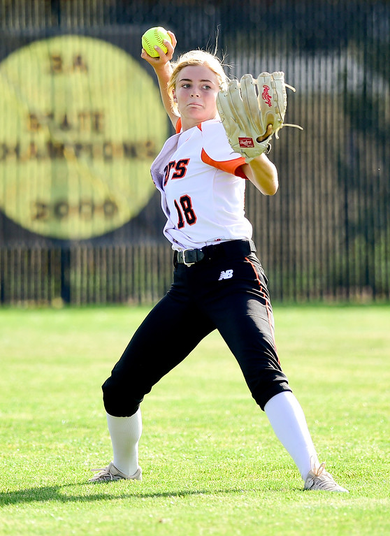 . ERIE, CO - SEPTEMBER 18:Erie High School\'s Teagan Brand (No. 18) throws the ball in from the outfield in the game against Holy Family High School in Erie on Sept. 18, 2018. Erie defeated Holy Family, 11-9. (Photo by Matthew Jonas/Staff Photographer)