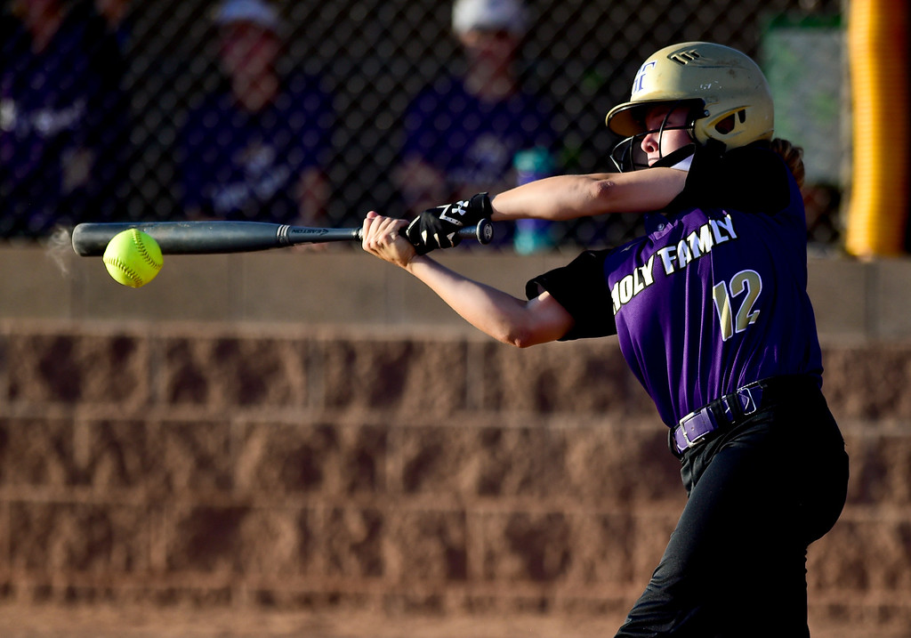 . ERIE, CO - SEPTEMBER 18:Holy Family High School\'s Kaitlyn McKenzie (No. 12) hits a double against Erie High School in Erie on Sept. 18, 2018. Erie defeated Holy Family, 11-9. (Photo by Matthew Jonas/Staff Photographer)