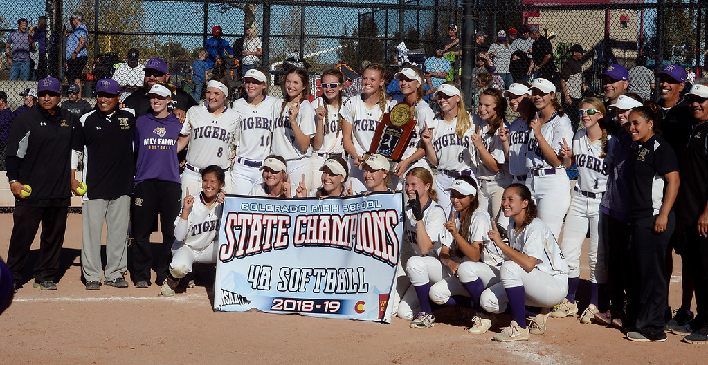 . AURORA, CO - October 20, 2018:  The Holy Family State Championship team picture. Holy Family beats Mountain View to win the 4A State Softball Championship in Aurora on Saturday.  (Photo by Cliff Grassmick/Staff Photographer)