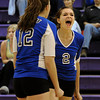 "Peak to Peak High School's Jordyn Sainson, right, and Alison Hankey celebrate a point during a volleyball match against Holy Family High School on Thursday, Oct. 4, at Holy Family High School in Broomfield. For more photos of the match go to  <a href=""http://www.dailycamera.com"">http://www.dailycamera.com</a><br /> Jeremy Papasso/ Camera"