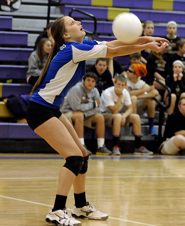 "Peak to Peak High School's Jordan Powley hits the ball during a volleyball match against Holy Family High School on Thursday, Oct. 4, at Holy Family High School in Broomfield. For more photos of the match go to  <a href=""http://www.dailycamera.com"">http://www.dailycamera.com</a><br /> Jeremy Papasso/ Camera"