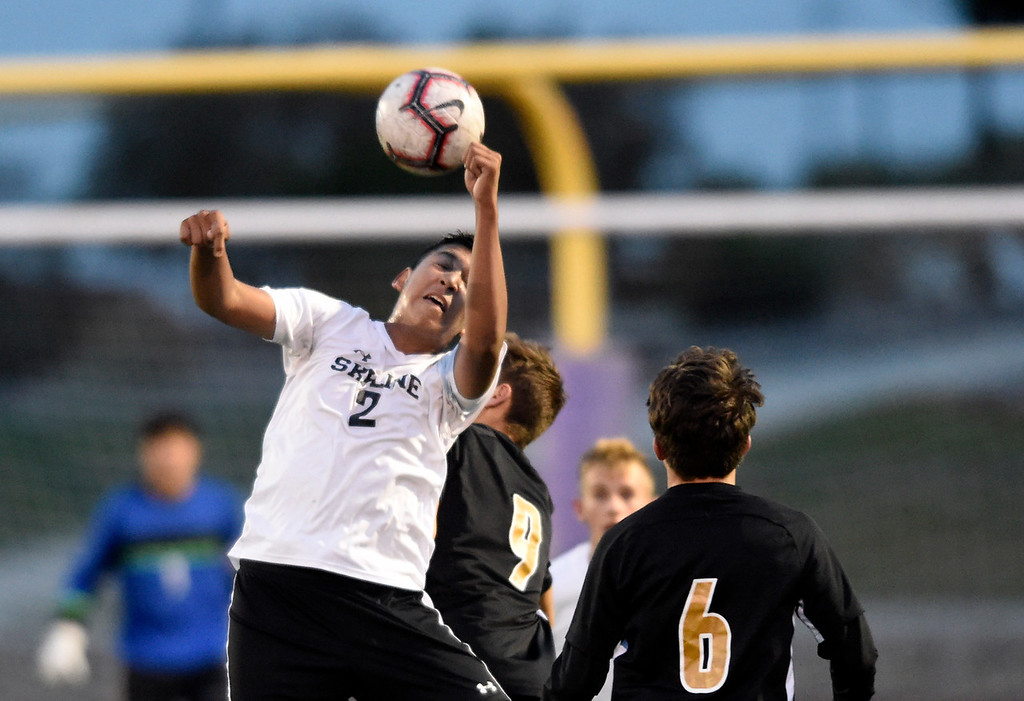 . BROOMFIELD, CO - OCTOBER 8, 2018: Skyline High School\'s Salvador Medrano heads the ball during a game against Holy Family on Monday in Broomfield. More photos: BoCoPreps.com (Photo by Jeremy Papasso/Staff Photographer)
