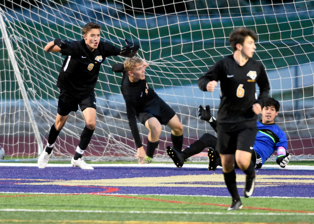 . BROOMFIELD, CO - OCTOBER 8, 2018: Holy Family High School\'s Cody Chavers, left, celebrates a goal during a game against Skyline on Monday in Broomfield. More photos: BoCoPreps.com (Photo by Jeremy Papasso/Staff Photographer)