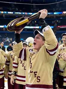 - The Boston College Eagles defeated the Ferris State Bulldogs 4-1to win the 2012 NCAA Frozen Four National Championship game on April 7th, 2012, at the Tampa Bay Times Forum in Tampa Bay, Florida.