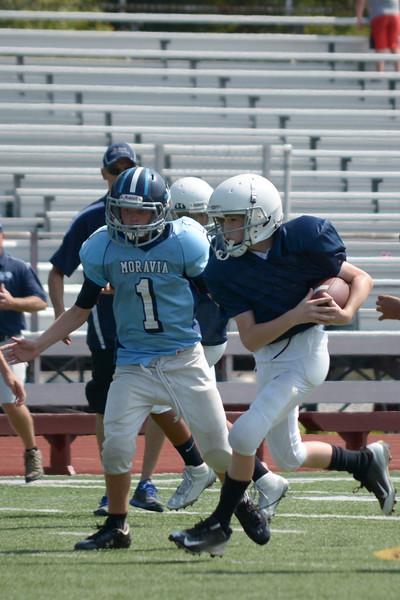 Homer Youth Football Sr. Tackle vs Moravia league scrimmage at Ithaca 9/6/15
