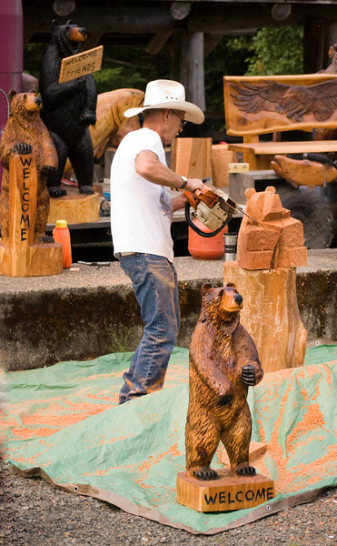 """Camp 18's own """"Roadside Chainsaw Carver"""" -pretty cool work."""