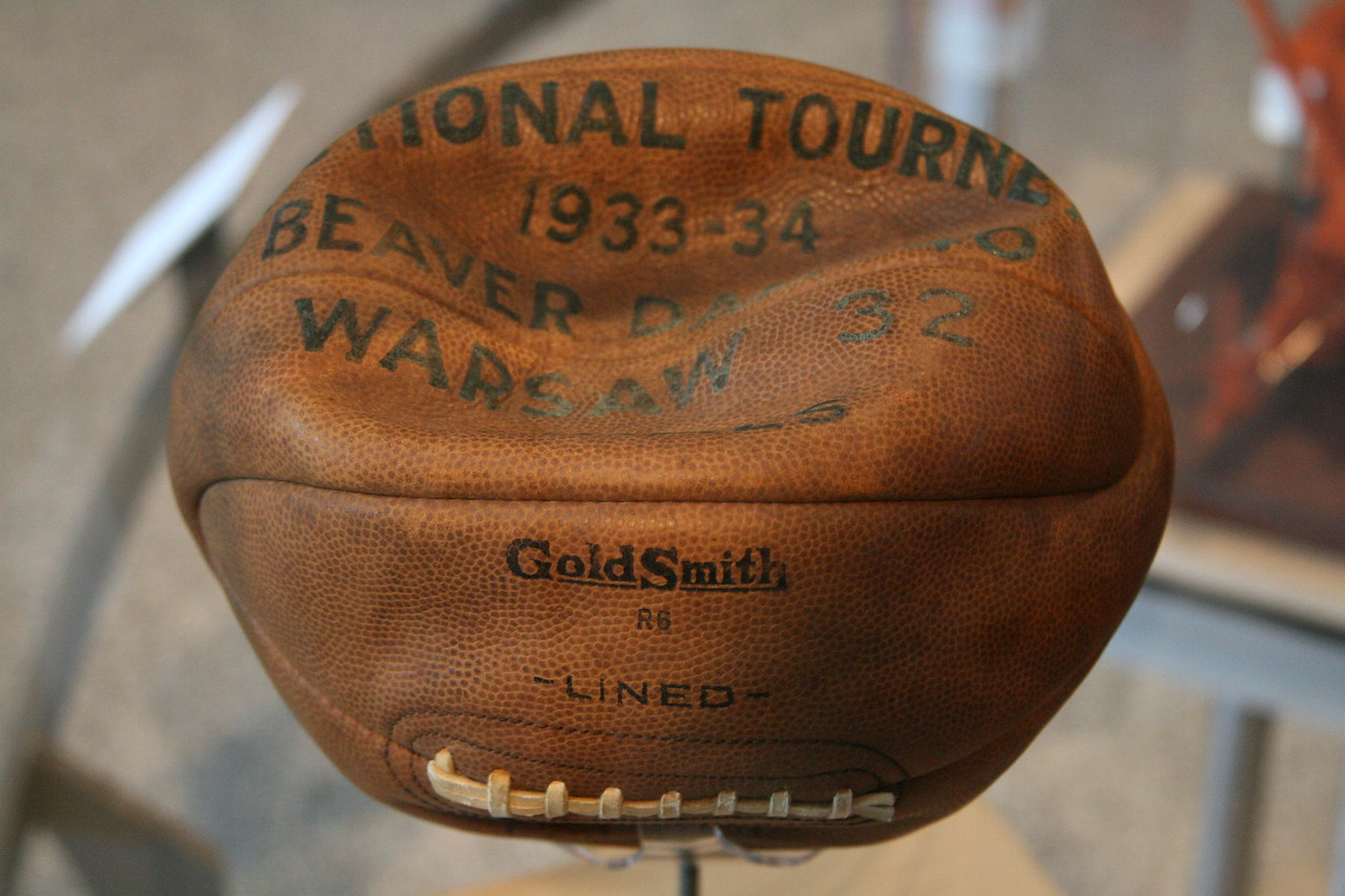 Basketball from the Beaver Dam Indiana High School Sectional, 1933.  From the Indiana State Museum.  Score on ball says Beaver Dam 40 Warsaw 32.