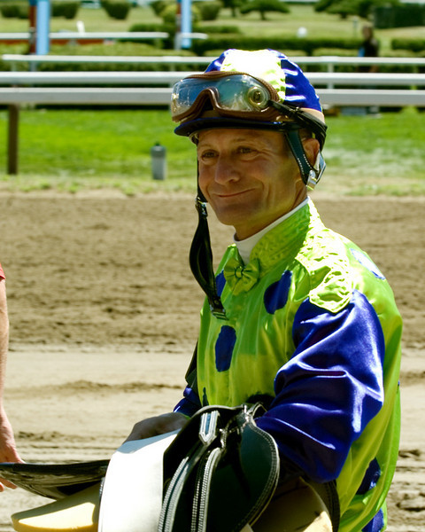 Calvin Borel walks back to weigh in after finishing fourth on Sumwonlovesyou at Saratoga Race Course on August 5, 2007.