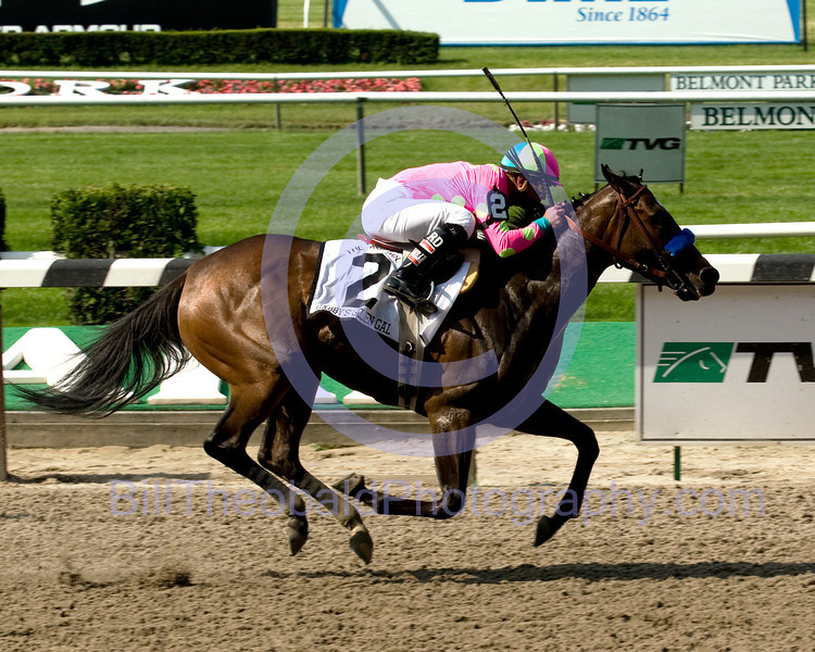 Gabbys Golden Girl trained by Bob Baffert (saddled by John Terranova II) and ridden by Javier Castellano the daughter of Medaglia D'Oro won the Acorn stakes on the undercard of Belmont Stakes day.