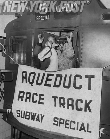 The first Aqueduct Subway Special leaves for the racetrack. 1960