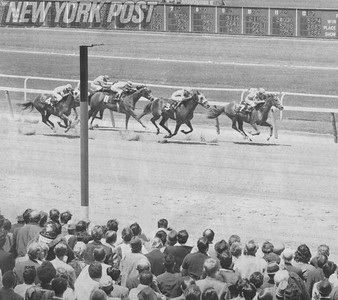 Golden Feathers gets the win at opening day at Belmont. 1971