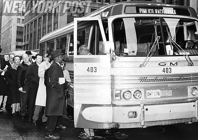 Horse Racing fans board a bus headed for Pimlico. 1967