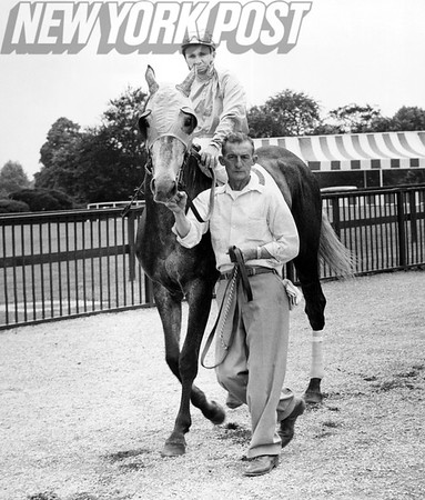 Paul Bailey Getting Set To Race With His Horse In Jockey Series. 1957