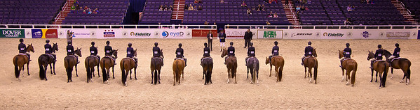 Horses and riders line up for the Junior Hunter competition