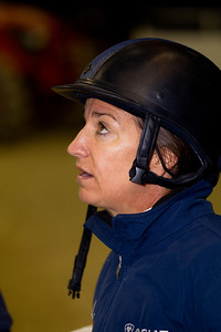 Laura Kraut waits for her next event at the Washington International Horse Show on October 29. Kraut is a former Olympic Champion.